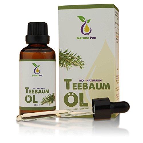 Natura Pur Bio Teebaumöl 50ml - 100% naturreines ätherisches Öl aus Australien, vegan - gegen unreine Haut, Hautentzündungen, Anti Pickel und gegen Akne sowie Pilze wie Nagelpilz und Fußpilz